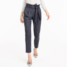 """These pants have a stylish paper-bag waist that looks super-polished with a tucked-in shirt. We also suggest tying the belt in our signature half-bow. (How to do it? Instead of making a second bunny ear, just keep pulling the fabric through.) <ul><li>Sits above hip, easy through hip and thigh with a straight, cropped leg.</li><li>26 1/4"""" inseam.</li><li>Wool/poly/elastane.</li><li>Dry clean.</li><li>Import.</li><li>Select stores.</li></ul>"""