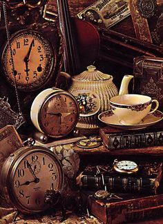 It's Tea Time.old books, old clocks, &.old tea cups. Did I mention I have a clock fetish.