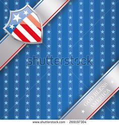 Independence day flyer with silver protection shield. Eps 10 vector file.
