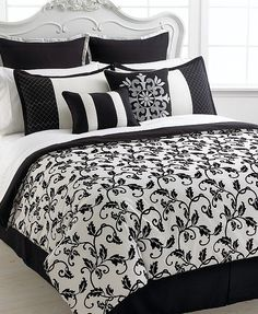 black and white bed set.