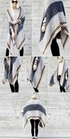 Crochet Cape, Crochet Jacket, Crochet Cardigan, Crochet Scarves, Diy Crochet, Crochet Clothes, Crochet Sweaters, Crochet Ideas, Cape Scarf