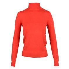 Este es un suéter y lo pones en tu cuerpo. Es rojo brillante.
