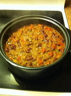 Homemade Chili in my Pampered Chef Dutch Oven Rockcrok! Yum!