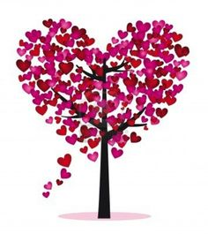 Purple and red tree with heart leaves, vector illustration Valentine Tree, Valentine Images, Valentine Day Crafts, Happy Valentines Day, Heart In Nature, Tree Clipart, Heart Projects, Heart Tree, Ruby Wedding