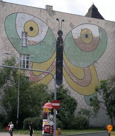 """old """"mural"""" (wall art, street art) in Lodz. aprox.60-70' photo by www.studiobaklazan.pl"""