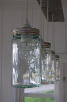 Norgesglass - jars as lamps Driftwood Decor, Home N Decor, Lamp, Diy Interior, Diy Outdoor Lighting, Diy Decor, Diy Lamp, Mason Jar Lamp, Glass Lighting