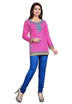 Rahi presents this Pink coloured kurti, which will be an apt pick for office going woman like you. The poly crepe fabric of this regular-fit kurta is skin friendly. Exhibiting an interesting print, it can be clubbed with matching leggings and sandals to look stunning and gorgeous.
