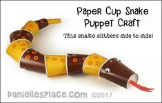 Paper Cup Snake Puppet Craft from www.danielllesplace.com