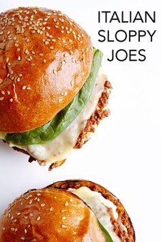 These scrumptious Italian Sloppy Joes might be a mess-of-a-meal (three napkins required), but they're also chock full of richly flavored beef that's sandwiched between crisp garlic buns and topped with cheese (three kinds!) and basil.  #BiteMeMore #recipes