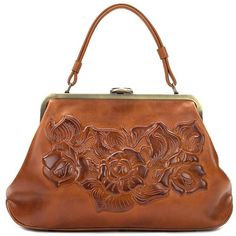 Patricia Nash Floral Embossed Leather Satchel ($229) ❤ liked on Polyvore featuring bags, handbags, gold, patricia nash purses, leather satchel handbags, leather satchel purse, floral handbags and leather satchel