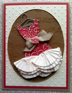 STAMPIN' UP!- DRESS UP- www.kimwilliams.stampinup.net- SU Dress Up framelits, Lacy brocade emboss folder, Paper Flowers, Jewels: pearls, SU sanding blocks, Primrose Petals coordinations cardstock, Naturals Composition designer paper, Ovals Framelits, Distress tool, Pop Up Posies kit, Cute Clips hanger