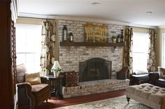 Best Pics yellow Brick Fireplace Suggestions The Yellow Cape Cod: White Washed . Best Pics yellow Brick Fireplace Suggestions The Yellow Cape Cod: White Washed . White Wash Brick Fireplace, Red Brick Fireplaces, Brick Fireplace Makeover, Fireplace Remodel, Fireplace Design, Fireplace Mantels, Fireplace Ideas, Painted Fireplaces, Basement Fireplace