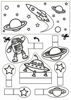 space - Coloring pages and crafts Space Preschool, Space Activities, Science Activities, Space Classroom, Classroom Themes, Space Planets, Space And Astronomy, Space Projects, Space Crafts