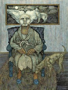 The Grandmother by Meinrad Craighead. From Meinrad Craighead Studio: Crow Mother and the Dog God, A Retrospective