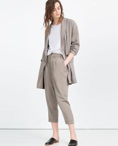ZARA - WOMAN - CROPPED TROUSERS WITH FRONT PLEAT