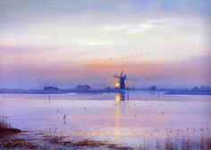 Setting Sun Breydon Water | Norfolk Prints | Norfolk Broads Copyright 2014 David Dane