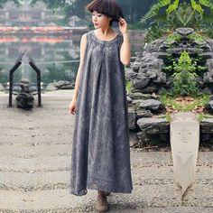 Summer Casual Round Neck Cotton Gray Sleeveless Dress