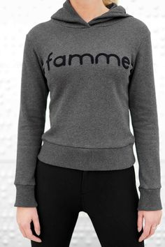 Dark Grey Majuscule hoodie from Famme Casual Wear, Custom Made, It Is Finished, Hoodies, Fabric, Sweaters, Cotton, How To Wear, Fashion