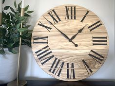 in diameter. Handmade and ships nationwide free Popular Tree, Handmade Clocks, Roman Numerals, Wood Wall, Solid Wood, Ships, Free, Boats