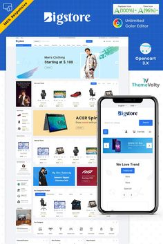 Big Store - Mega Electronics Shop OpenCart Template #87255 Color Editor, Seo Basics, Electronic Shop, Seo Optimization, News Sites, Web Layout, Web Application, Wordpress Plugins, Web Design Inspiration