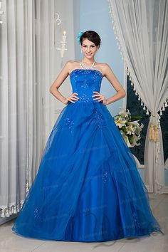 Ball Gown Strapless Satin Tulle Applique Quinceanera Dress