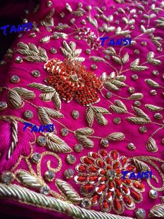 All Ethnic Customization with Hand Embroidery & beautiful Zardosi Art by Expert & Experienced Artist That reflect in Blouse , Lehenga & Sarees Designer creativity that will sunshine You & your Party Worldwide Delivery. Zardosi Embroidery, Hand Embroidery Dress, Embroidery Suits Design, Bead Embroidery Patterns, Couture Embroidery, Simple Embroidery, Hand Embroidery Designs, Beaded Embroidery, Fancy Blouse Designs
