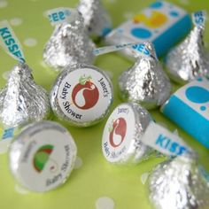 Hersheys Personalized kisses.  We did this when Dev was born and took them to the hospital altho I think David ate them all.