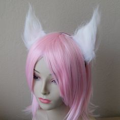 White Long Fur Cat Ear Fox Ear Set / with Metal Headband (Clip & Band Convertible) Kitty Ears Wolf Ears Anime Cosplay Neko Costume by CosplaySnap (Cosplay Factory USA) Price: $14.95