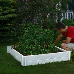 New England Arbors 4 ft. x 4 ft. Vinyl Raised Garden Planter