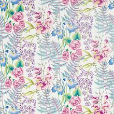 Amaryllis fabric, in colour Cerise/Lagoon, from Harlequin's Zapara collection. Harlequin Fabrics, Design Trends 2018, Painted Rug, American Quilt, Made To Measure Curtains, Curtains With Blinds, Fabric Wallpaper, Floral Fabric, Fabric Design