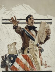 "Joseph Christian Leyendecker (1874-1951) Independence Day (""When, in the Course of Human Events…"")  signed with conjoined initials 'JCLeyendecker' (lower right) oil on canvas 27 1/2 x 21 in. (69.9 x 53.5 cm) Painted circa 1908."