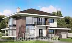 275-002-П Проект двухэтажного дома, гараж, классический домик из кирпича