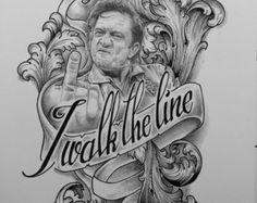 Johnny Cash Tattoo Flash Art Print by ParlorTattooPrints on Etsy