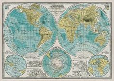 Cavallini Hemisphere Map Wrapping Paper
