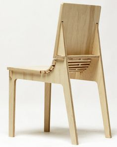 "No nails. No glue. No fasteners of any kind are needed to assemble the wood furniture designs of recent University of Cincinnati grad Jon Panichella. The ""Sweep"" chair."