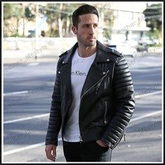 Leather Jacket Lambskin Real Motorcycle New Quilted Stylish Black for Men MC05…