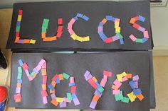 Traveling, Teaching, Cooking, Creating: Name writing activities