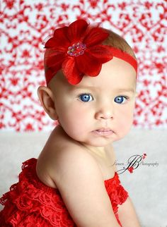 Christmas Headband  Red Flower Headband  Newborn by TheSassyTot, $8.50