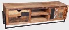 LECTIC MANGO WOOD AND RECYCLED TIMBER 2 DRAWER 1 DOOR ENTERTAINMENT UNIT