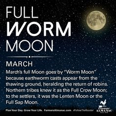 March's full Moon, like other full Moons, is rich in folklore and therefore was given many names. Watch our short video to learn the origin behind this full Moon's names: https://www.farmersalmanac.com/march-full-worm-moon-16992 #fullmoon #folklore #legends #NativeAmerican #astronomy #stargazing