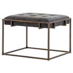 Bryson Industrial Loft Tufted Ebony Leather Brass End Table