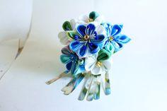 Janpanese Kanzashi-Kanzashi hair stick-Kanzashi flower -Kanzashi-blue wedding-bridal hair stick by GEISHAFLOWER on Etsy https://www.etsy.com/listing/237438839/janpanese-kanzashi-kanzashi-hair-stick