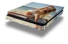 Kayla DeLancey White Bikini 37 - Decal Style Skin fits Sony PlayStation 4 Slim Gaming Console