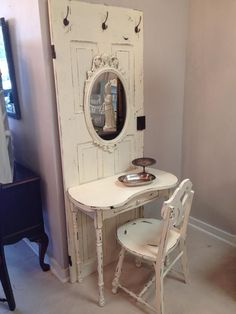 Vintage Door turned Hall Tree Vanity Desk! What would you do with this? Gorgeous in a light cream and heavily distressed!