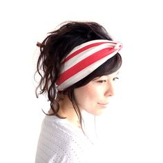 Tie Up Headscarf Raspberry and Oatmeal Stripe by ChiChiDee on Etsy, £12.00