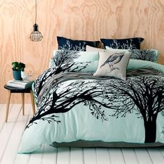Owl Bedding in Mint...minus the owl & use a diff bird. Owls are creepy.