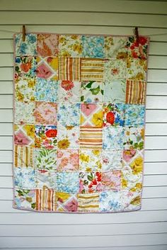 I want to do this with my grandmas blankets that I grew up with! Home:)