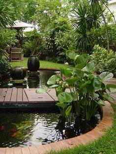 70 beautiful backyard ponds and water garden landscaping ideas - Gartengestaltung Ponds Backyard, Tropical Landscaping, Front Yard Landscaping, Landscaping Ideas, Outdoor Landscaping, Garden Ponds, Acreage Landscaping, Inexpensive Landscaping, Koi Ponds