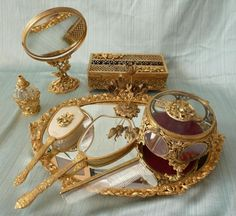 Vtg Matson Dogwood Bird Gold Plated Gilt Ormolu 9 PC Dresser Vanity Set | eBay
