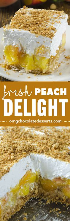 This No Bake Peach Delight brings the flavor of fresh summer peaches into one easy no bake summer dessert!